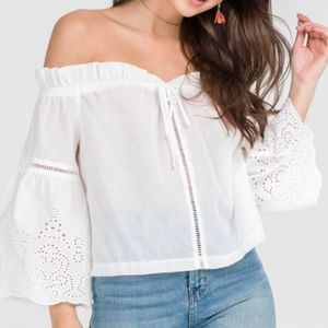 Lush Blouse Off Shoulder Eyelet Bell Sleeves White